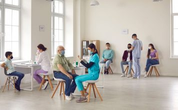 People getting vaccinated at a clinic