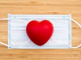Image of a heart on a surgical mask